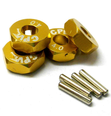 57814A 1/10 Scale RC M12 12mm Alloy Wheel Adaptors With Pins Nut Yellow 4mm