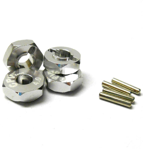 57814S 1/10 Scale RC M12 12mm Alloy Wheel Adaptors With Pins Nut Silver 4mm Wide