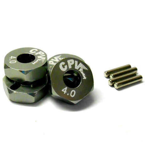 57814T 1/10 Scale RC M12 12mm Alloy Wheel Adaptors With Pins Nut Titanium 4mm