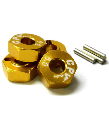 57815A 1/10 Scale RC M12 12mm Alloy Wheel Adaptors With Pins Nut Yellow 5mm Wide