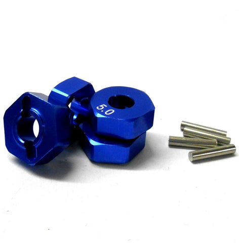57815B 1/10 Scale RC M12 12mm Alloy Wheel Adaptors With Pins Nut Blue 5mm Wide