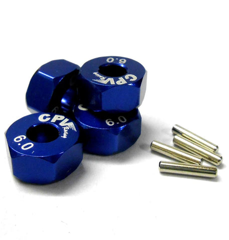 57816B 1/10 Scale RC M12 12mm Alloy Wheel Adaptors With Pins Nut Blue 6mm Wide