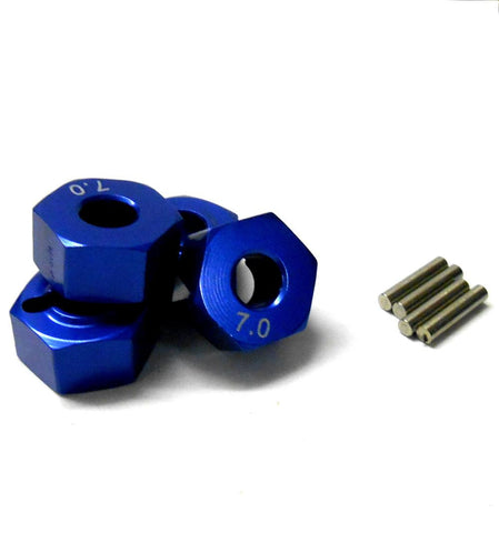 57817B 1/10 Scale RC M12 12mm Alloy Wheel Adaptors With Pins Nut Blue 7mm