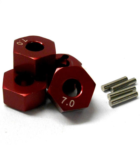 57817R 1/10 Scale RC M12 12mm Alloy Wheel Adaptors With Pins Nut Red 7mm