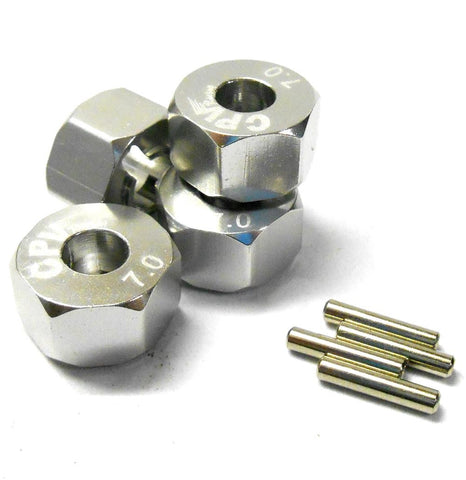57817S 1/10 Scale RC M12 12mm Alloy Wheel Adaptors With Pins Nut Silver 7mm