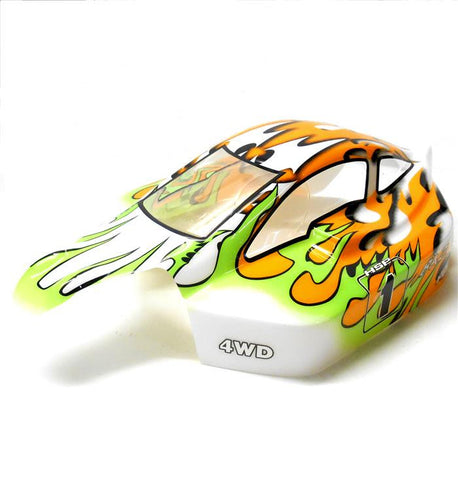 81340 Off Road Nitro RC R/C 1/8 Scale Buggy Body Shell Cover Flame Orange Green