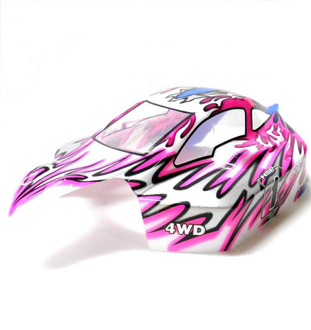 81346 Off Road Nitro RC R/C 1/8 Scale Buggy Body Shell Cover Flame Pink White