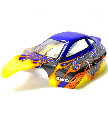 81353 Off Road Nitro RC R/C 1/8 Scale Buggy Body Shell Cover Flame Yellow Blue