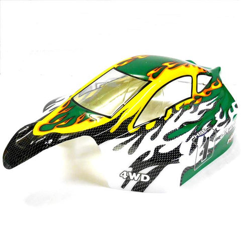 81356 Off Road Nitro RC 1/8 Scale Buggy Body Shell Green White HSP Cut Shell