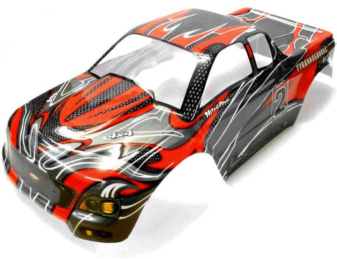 88030 RC 1/10 Scale Monster Truck Body Shell Cover HSP Red V3 Cut