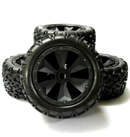 BS810-001x4 1/8 RC Nitro Off Road Wheels and Tyres x 4 Black 17mm
