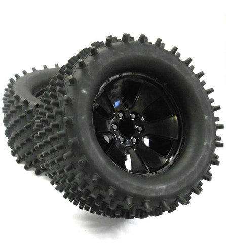 BS904-001 1/8 Scale Black RC Nitro Monster Truck Off Road Wheels and Tyres x 2