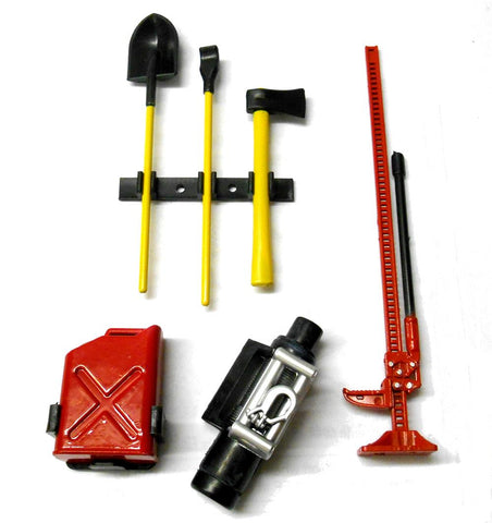 CJG030 1/10 Scale Body Shell Cover Accessories Red Jack Yellow Tool Winch Set