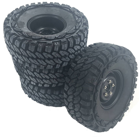 HS211230BK 1/10 Scale RC Off Road Rock Crawler Wheel Tyre x 4 115mm Black