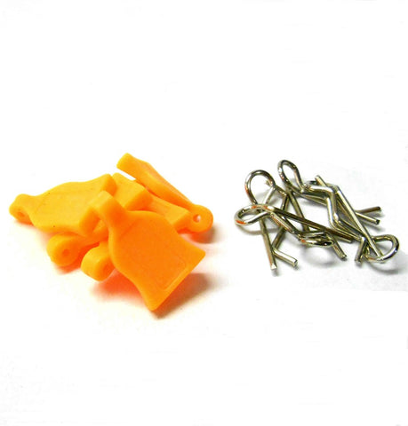 HY00148O 1.16 1.10 Small Silver Body Clips R Pin x 4 and Rubber Orange Grips