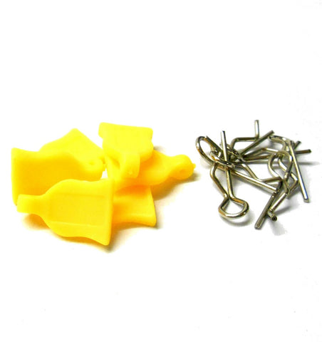 HY00148Y 1.16 1.10 Small Silver Body Clips R Pin x 4 and Rubber Yellow Grips