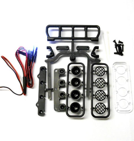 L-020b 1/10 Monster Truck Body Shell Roof Mount Light Set White 4 LEDs Black