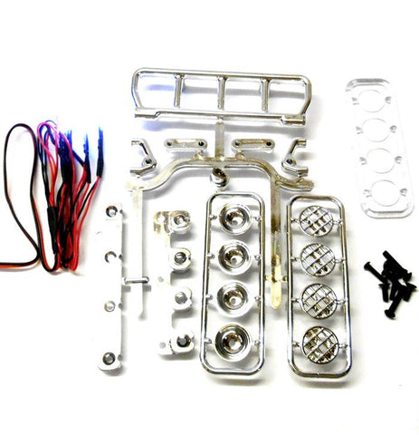 L-022b 1/10 Monster Truck Body Shell Roof Mount Light Set White 5 LEDs Chrome