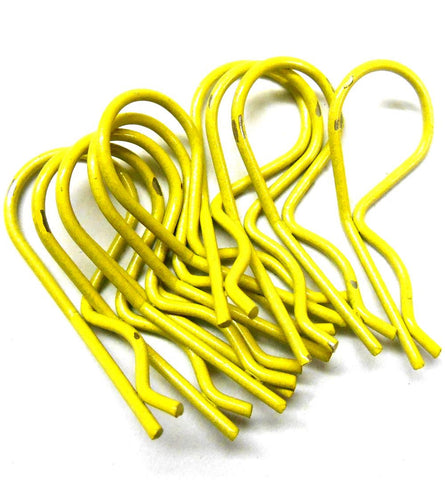 L11034 1/10 Scale Body Shell Cover Post Clips Large Loop x 10 Light Yellow 25mm