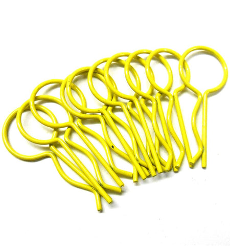 L11036 1/10 Scale Body Shell Cover Post Clips Large Loop x 10 Light Yellow 30mm