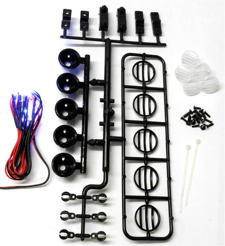 L-021b 1/10 Monster Truck Body Shell Roof Mount Light Set White 5 LEDs Black