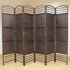 Wicker 6 Panel Room Divider