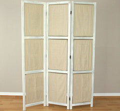 3 Panel Fabric Room Divider Screen