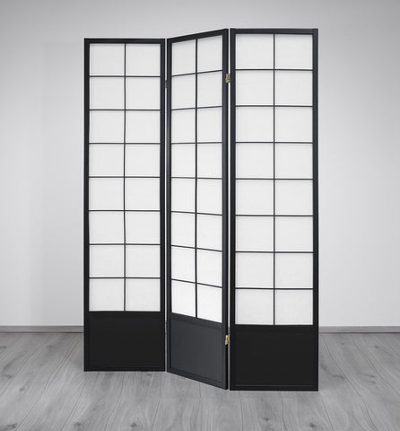 Hoshi Room Divider Screen - Black - 3 Panel