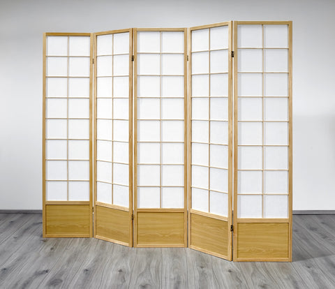 Hoshi Room Divider Screen - Natural - 5 Panel