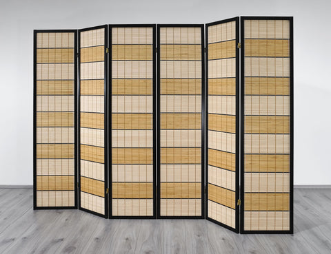 Wood Line Room Divider Screen - 6 Panel