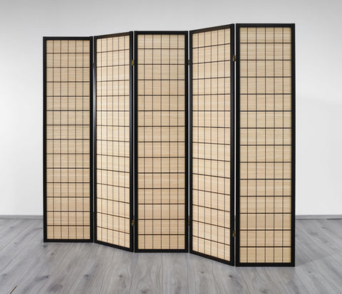Choko Wood Line Room Divider Screen - 5 Panel