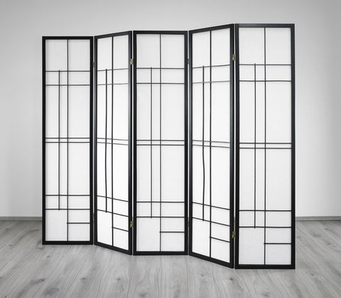 Trend Room Divider Screen - Black - 5 Panel