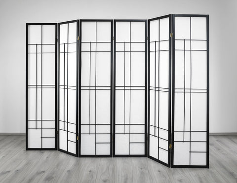 Trend Room Divider Screen - Black - 6 Panel