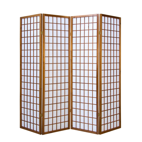 Tobacco Wood Shoji Screen - 4 panel