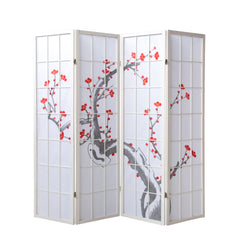 Cherry Tree Blossom Shoji Screen - 4 Panel - White