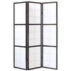 Window Shoji Room Divider Screen - Black - 3 Panel