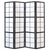 Window Shoji Room Divider Screen - Black - 4 Panel