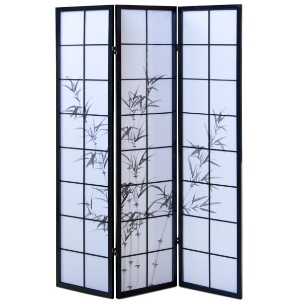 Bamboo Window Shoji Room Divider Screen - Black - 3 Panel