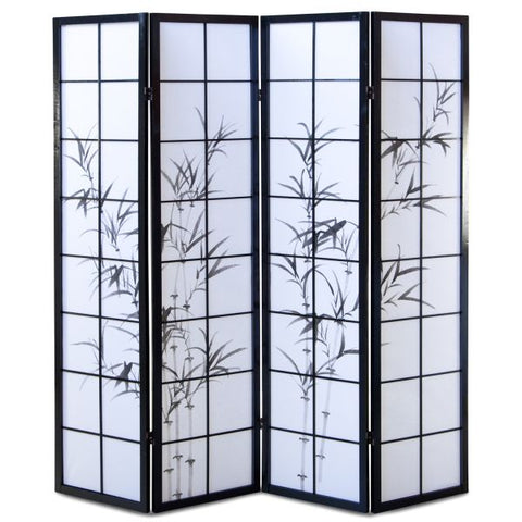 Bamboo Window Shoji Room Divider Screen - Black - 4 Panel