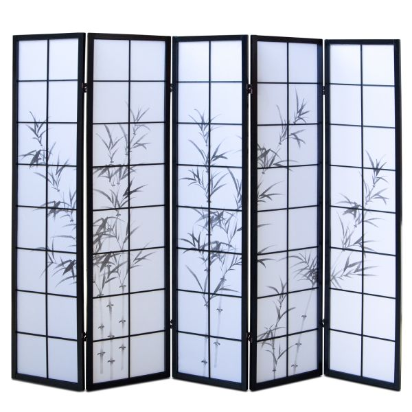 Bamboo Window Shoji Room Divider Screen - Black - 5 Panel