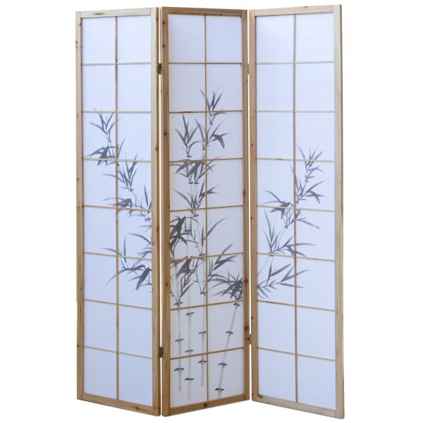 Bamboo Window Shoji Room Divider Screen - Natural - 3 Panel