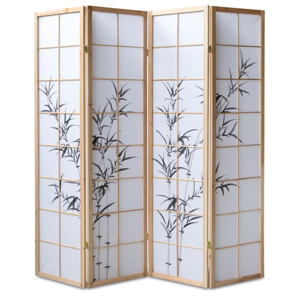 Bamboo Window Shoji Room Divider Screen - Natural - 4 Panel
