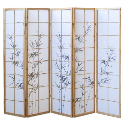 Bamboo Window Shoji Room Divider Screen - Natural - 5 Panel