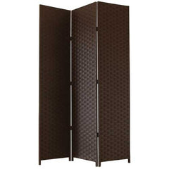 Brown Woven Paper Room Divider Decorative Screen - 3 Panel