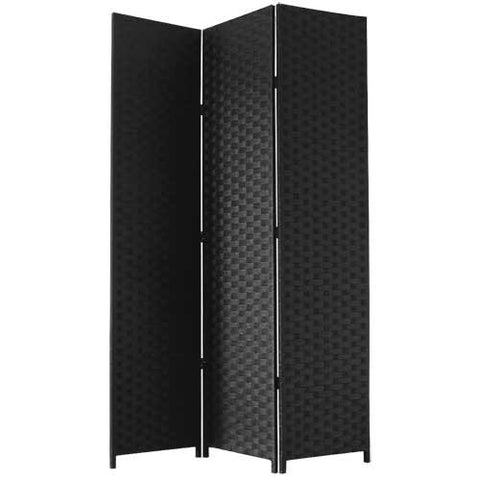 Black Woven Paper Room Divider Decorative Screen - 3 Panel
