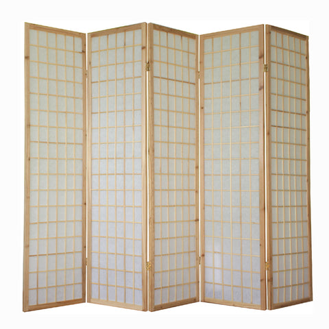 Window Pane Shoji Screen - Natural - 5 Panel