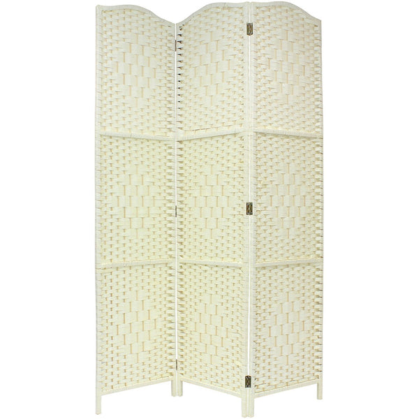 Solid Cream Weave Hand Made Wicker Room Divider - 3 Panel