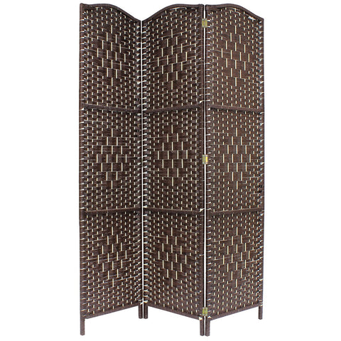 Solid Brown Weave Hand Made Wicker Room Divider - 3 Panel