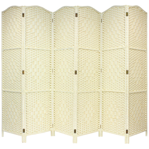 Solid Cream Weave Hand Made Wicker Room Divider - 6 Panel