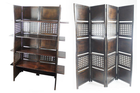 4 Panel Heavy Duty Indian Bookcase / Room Divider with 4 Shelves - Dark Brown
